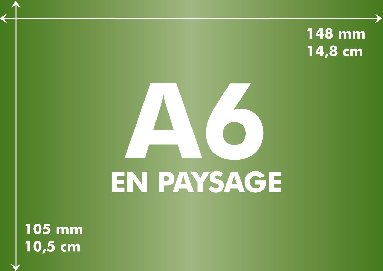a6 longueur et largeur d 39 un format a6 toutes les tailles en paysage et portrait du a6. Black Bedroom Furniture Sets. Home Design Ideas